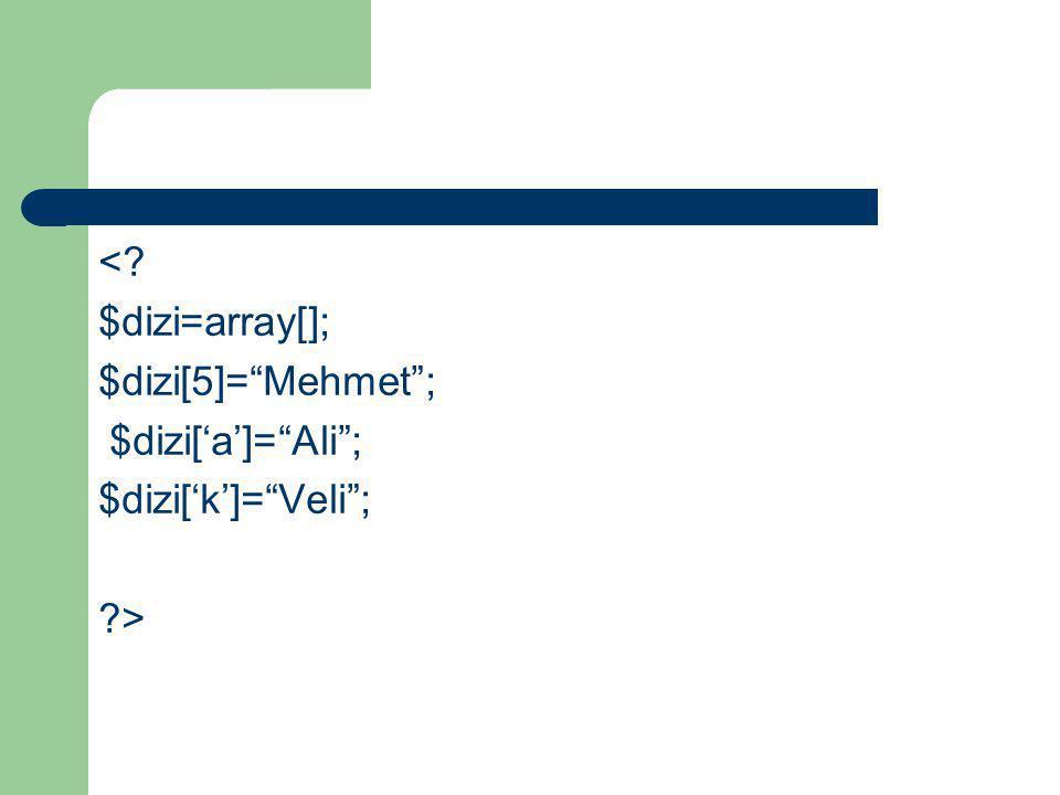 "<? $dizi=array[]; $dizi[5]=""Mehmet""; $dizi['a']=""Ali""; $dizi['k']=""Veli""; ?>"