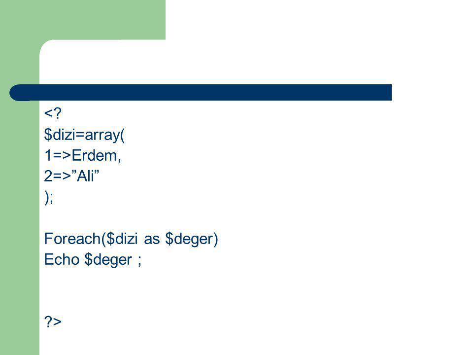 "<? $dizi=array( 1=>Erdem, 2=>""Ali"" ); Foreach($dizi as $deger) Echo $deger ; ?>"