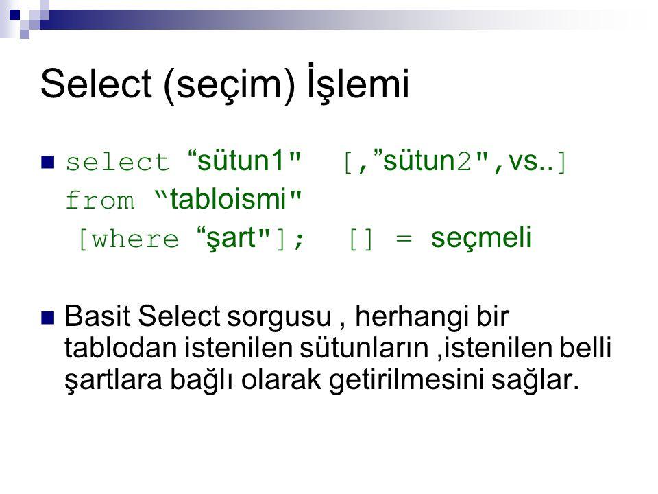 """Select (seçim) İşlemi select """"sütun1"""