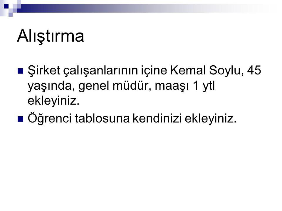 Alıştırma Şirket çalışanlarının içine Kemal Soylu, 45 yaşında, genel müdür, maaşı 1 ytl ekleyiniz. Öğrenci tablosuna kendinizi ekleyiniz.