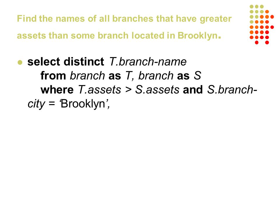 Find the names of all branches that have greater assets than some branch located in Brooklyn. select distinct T.branch-name from branch as T, branch a