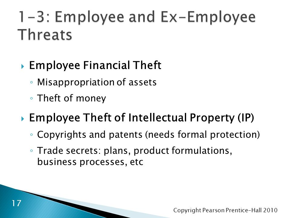 Copyright Pearson Prentice-Hall 2010  Employee Financial Theft ◦ Misappropriation of assets ◦ Theft of money  Employee Theft of Intellectual Propert