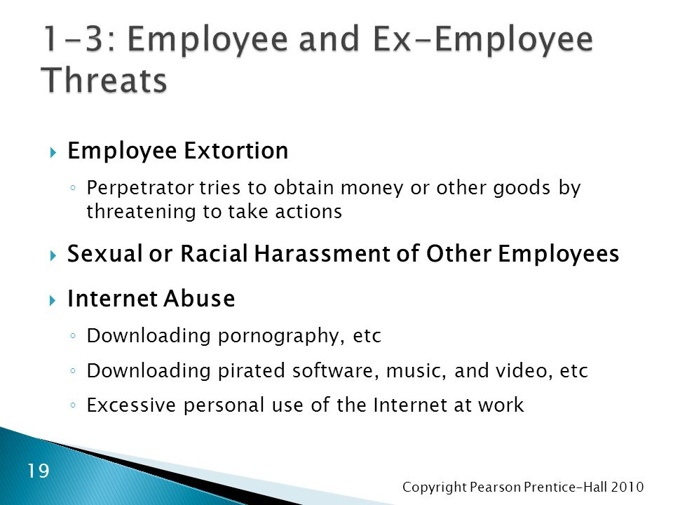 Copyright Pearson Prentice-Hall 2010  Employee Extortion ◦ Perpetrator tries to obtain money or other goods by threatening to take actions  Sexual o