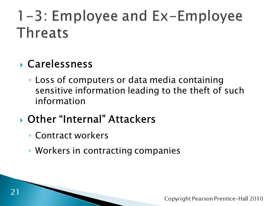 Copyright Pearson Prentice-Hall 2010  Carelessness ◦ Loss of computers or data media containing sensitive information leading to the theft of such information  Other Internal Attackers ◦ Contract workers ◦ Workers in contracting companies 21