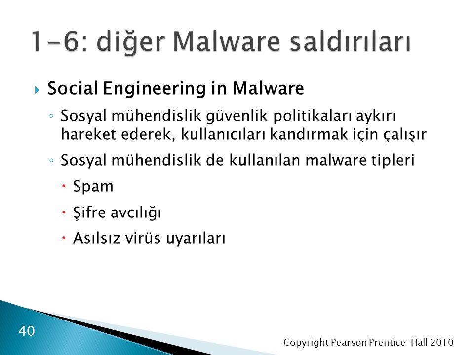 Copyright Pearson Prentice-Hall 2010  Social Engineering in Malware ◦ Sosyal mühendislik güvenlik politikaları aykırı hareket ederek, kullanıcıları kandırmak için çalışır ◦ Sosyal mühendislik de kullanılan malware tipleri  Spam  Şifre avcılığı  Asılsız virüs uyarıları 40