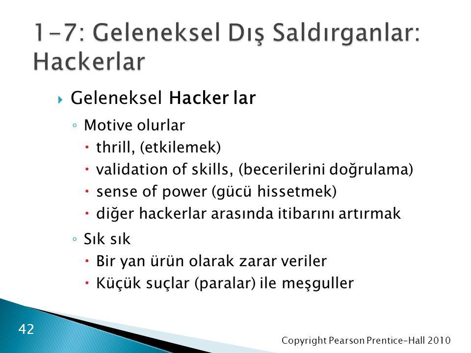 Copyright Pearson Prentice-Hall 2010  Geleneksel Hacker lar ◦ Motive olurlar  thrill, (etkilemek)  validation of skills, (becerilerini doğrulama)  sense of power (gücü hissetmek)  diğer hackerlar arasında itibarını artırmak ◦ Sık sık  Bir yan ürün olarak zarar veriler  Küçük suçlar (paralar) ile meşguller 42