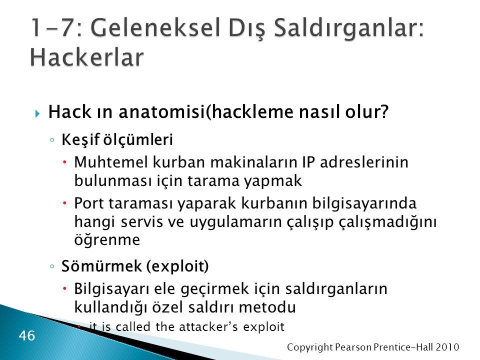 Copyright Pearson Prentice-Hall 2010  Hack ın anatomisi(hackleme nasıl olur? ◦ Keşif ölçümleri  Muhtemel kurban makinaların IP adreslerinin bulunmas