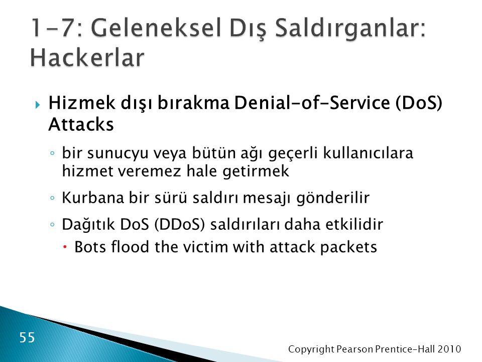 Copyright Pearson Prentice-Hall 2010  Hizmek dışı bırakma Denial-of-Service (DoS) Attacks ◦ bir sunucyu veya bütün ağı geçerli kullanıcılara hizmet veremez hale getirmek ◦ Kurbana bir sürü saldırı mesajı gönderilir ◦ Dağıtık DoS (DDoS) saldırıları daha etkilidir  Bots flood the victim with attack packets 55