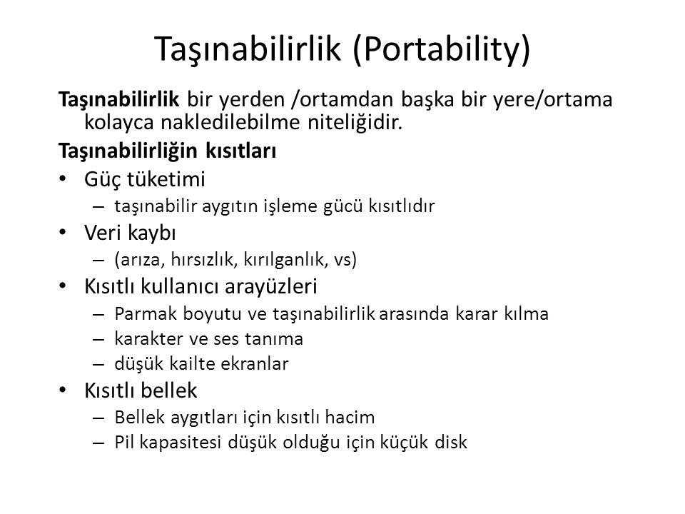 Taşınabilirlik (Portability) Taşınabilirlik bir yerden /ortamdan başka bir yere/ortama kolayca nakledilebilme niteliğidir. Taşınabilirliğin kısıtları