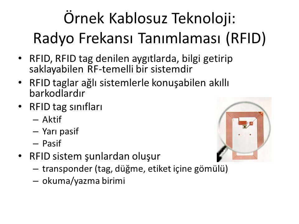 Örnek Kablosuz Teknoloji: Radyo Frekansı Tanımlaması (RFID) RFID, RFID tag denilen aygıtlarda, bilgi getirip saklayabilen RF-temelli bir sistemdir RFI