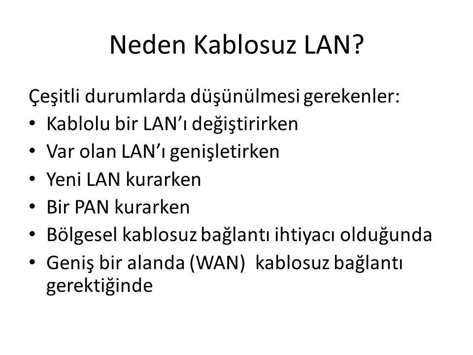 Neden Kablosuz LAN? Çeşitli durumlarda düşünülmesi gerekenler: Kablolu bir LAN'ı değiştirirken Var olan LAN'ı genişletirken Yeni LAN kurarken Bir PAN