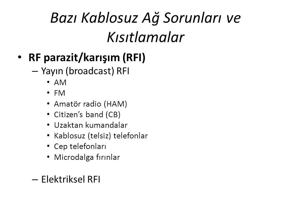 Bazı Kablosuz Ağ Sorunları ve Kısıtlamalar RF parazit/karışım (RFI) – Yayın (broadcast) RFI AM FM Amatör radio (HAM) Citizen's band (CB) Uzaktan kuman