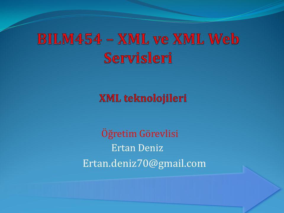  XML Şema  Doküman içinde gezinme (Xpath)  Doküman dönüştürme (XSLT)