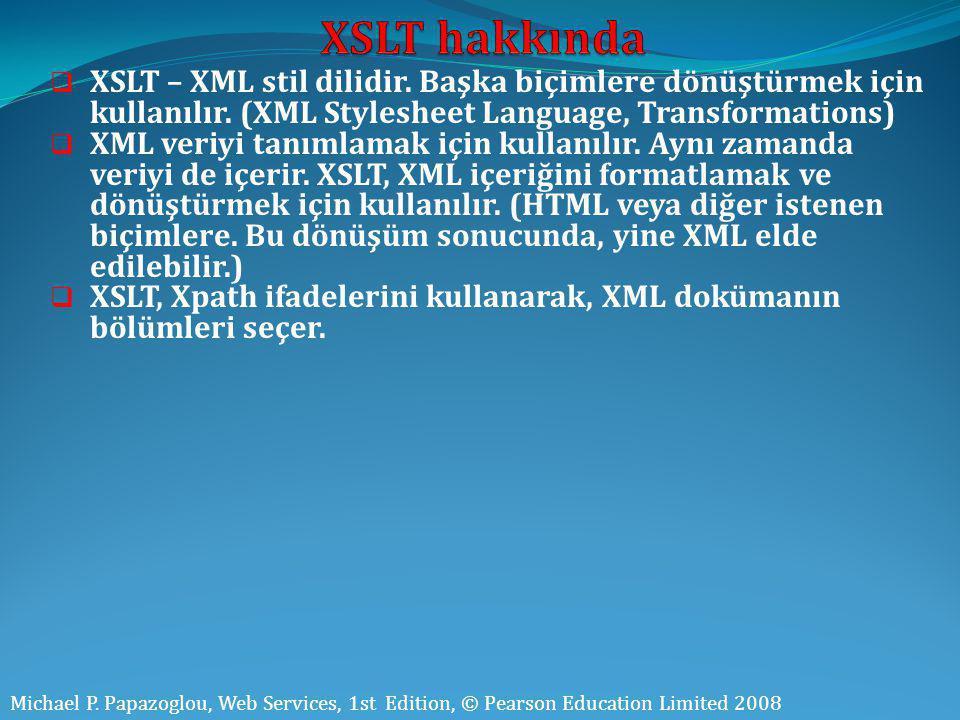  XSLT – XML stil dilidir. Başka biçimlere dönüştürmek için kullanılır. (XML Stylesheet Language, Transformations)  XML veriyi tanımlamak için kullan