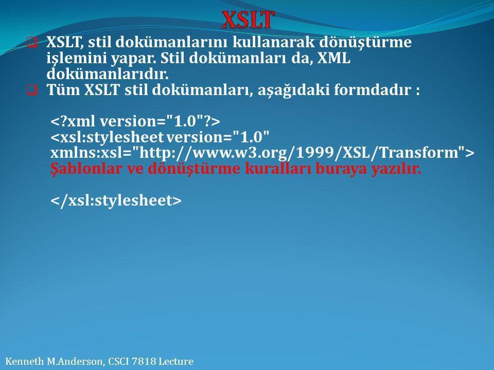  XSLT, stil dokümanlarını kullanarak dönüştürme işlemini yapar. Stil dokümanları da, XML dokümanlarıdır.  Tüm XSLT stil dokümanları, aşağıdaki formd