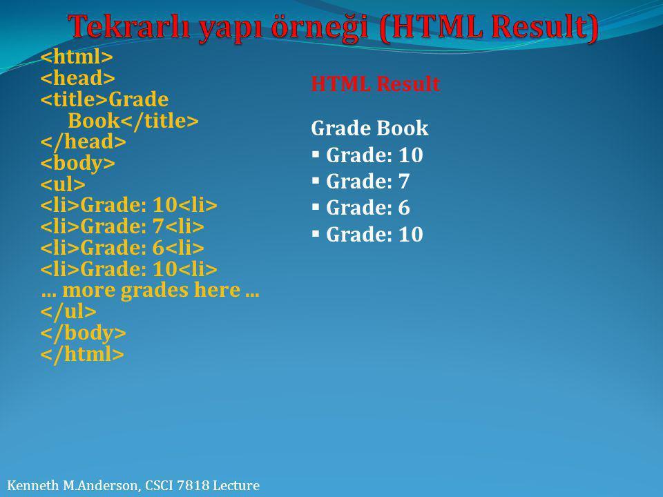 Grade Book Grade: 10 Grade: 7 Grade: 6 Grade: 10 … more grades here... Kenneth M.Anderson, CSCI 7818 Lecture Grade Book  Grade: 10  Grade: 7  Grade