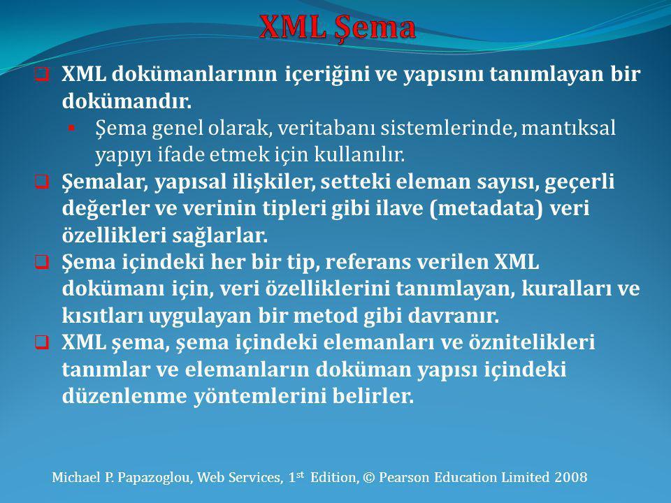 Michael P. Papazoglou, Web Services, 1 st Edition, © Pearson Education Limited 2008  XML dokümanlarının içeriğini ve yapısını tanımlayan bir dokümand