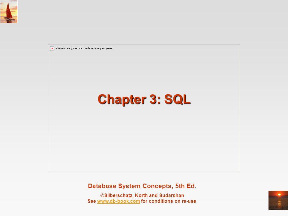 ©Silberschatz, Korth and Sudarshan3.2Database System Concepts, 5 th Ed., June 2006 Chapter 3: SQL Veri Tanımlaması (Data Definition) Temel Sorgu Yapısı (Basic Query Structure) Küme İşlemleri (Set Operations) Aggregate Functions Boş Değerler (Null Values) Gömülü alt sorgular (Nested Subqueries) Detaylı Sorgular (Complex Queries) Görünüm (Views) Veritabanının değiştirilmesi (Modification of the Database) Joined Relations**