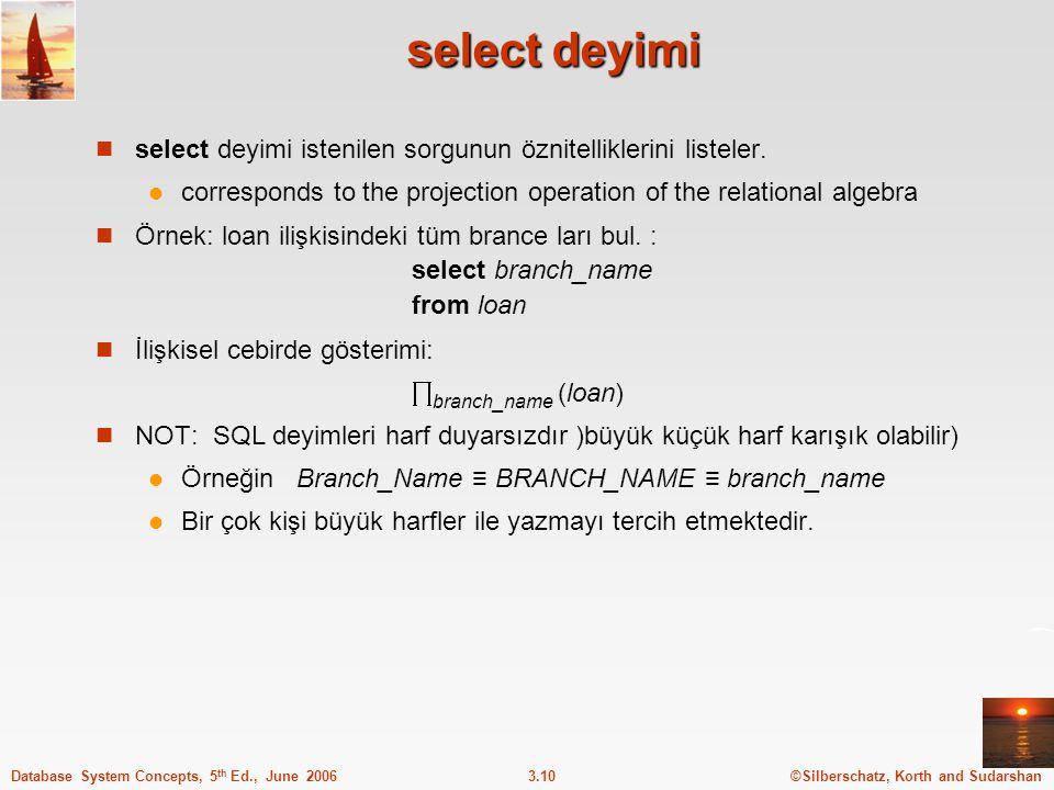 ©Silberschatz, Korth and Sudarshan3.10Database System Concepts, 5 th Ed., June 2006 select deyimi select deyimi istenilen sorgunun öznitelliklerini listeler.