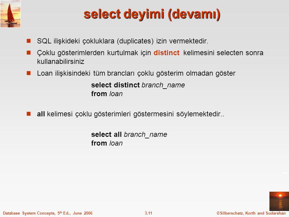 ©Silberschatz, Korth and Sudarshan3.11Database System Concepts, 5 th Ed., June 2006 select deyimi (devamı) SQL ilişkideki çokluklara (duplicates) izin vermektedir.
