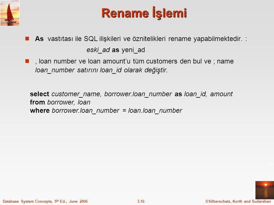 ©Silberschatz, Korth and Sudarshan3.16Database System Concepts, 5 th Ed., June 2006 Rename İşlemi As vastıtası ile SQL ilişkileri ve öznitelikleri rename yapabilmektedir.