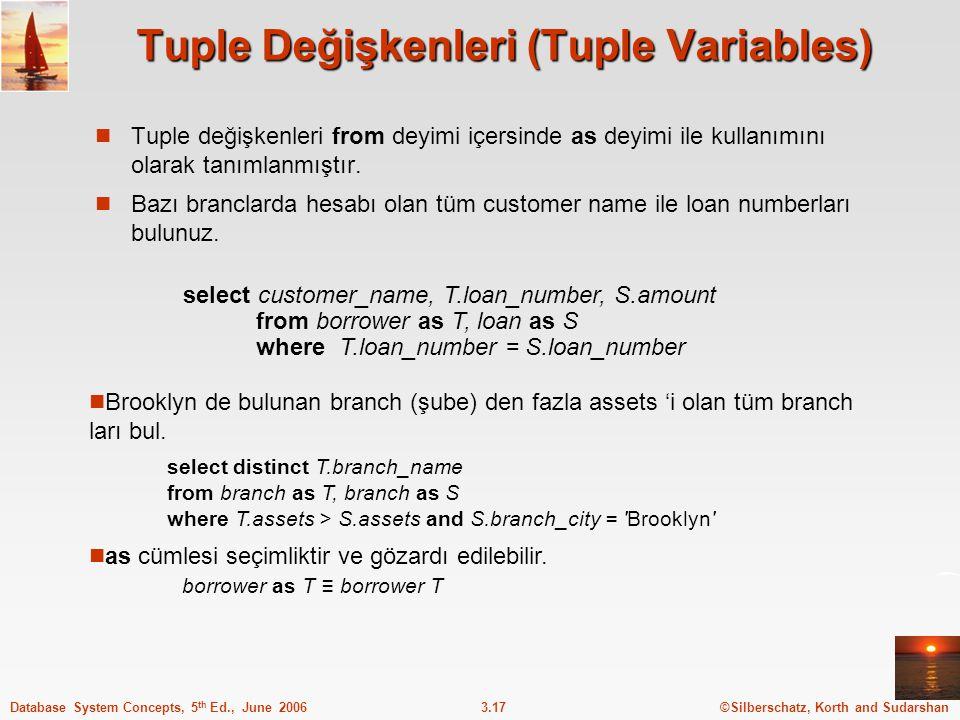 ©Silberschatz, Korth and Sudarshan3.17Database System Concepts, 5 th Ed., June 2006 Tuple Değişkenleri (Tuple Variables) Tuple değişkenleri from deyimi içersinde as deyimi ile kullanımını olarak tanımlanmıştır.