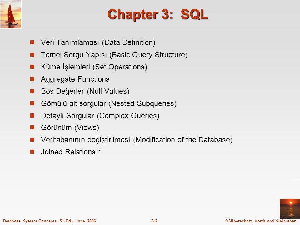 ©Silberschatz, Korth and Sudarshan3.13Database System Concepts, 5 th Ed., June 2006 where deyimi where deyimi sonuçta istenilen şartları belirtmeye yaramaktadır İlişkisel cebirdeki seçme ye karşılık gelmektedir.