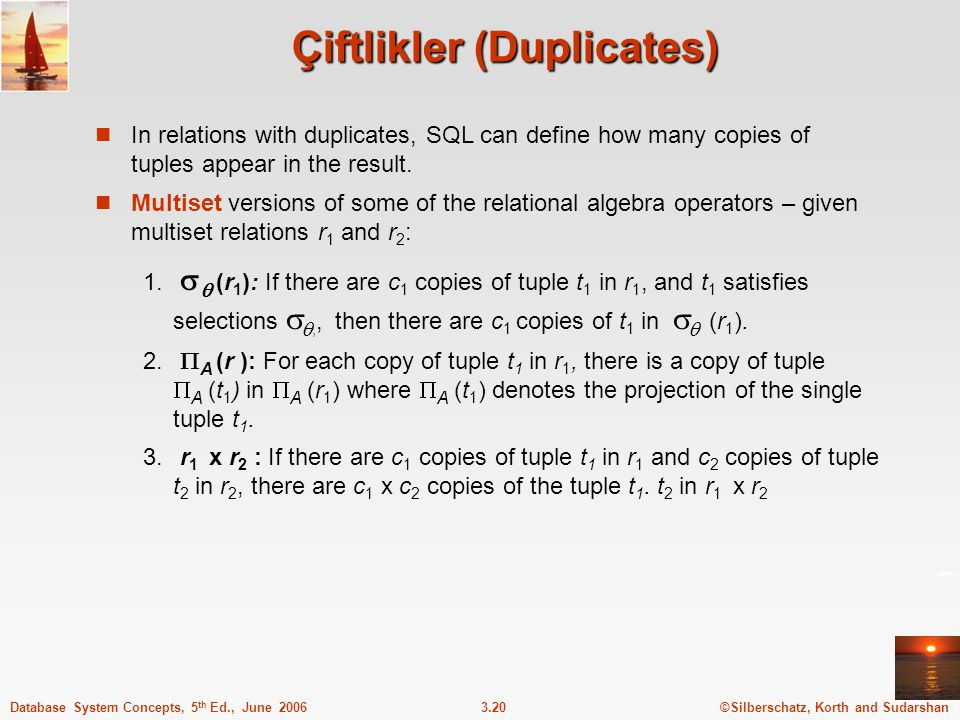 ©Silberschatz, Korth and Sudarshan3.20Database System Concepts, 5 th Ed., June 2006 Çiftlikler (Duplicates) In relations with duplicates, SQL can define how many copies of tuples appear in the result.