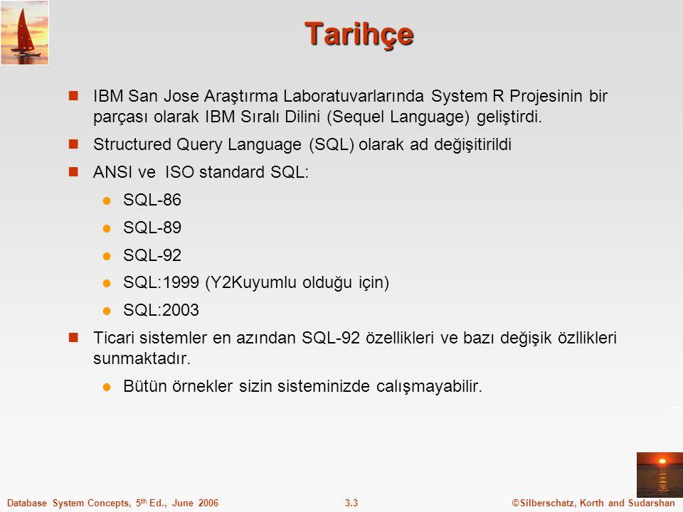 ©Silberschatz, Korth and Sudarshan3.3Database System Concepts, 5 th Ed., June 2006 Tarihçe IBM San Jose Araştırma Laboratuvarlarında System R Projesinin bir parçası olarak IBM Sıralı Dilini (Sequel Language) geliştirdi.