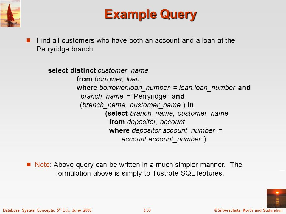 ©Silberschatz, Korth and Sudarshan3.33Database System Concepts, 5 th Ed., June 2006 Example Query Find all customers who have both an account and a lo