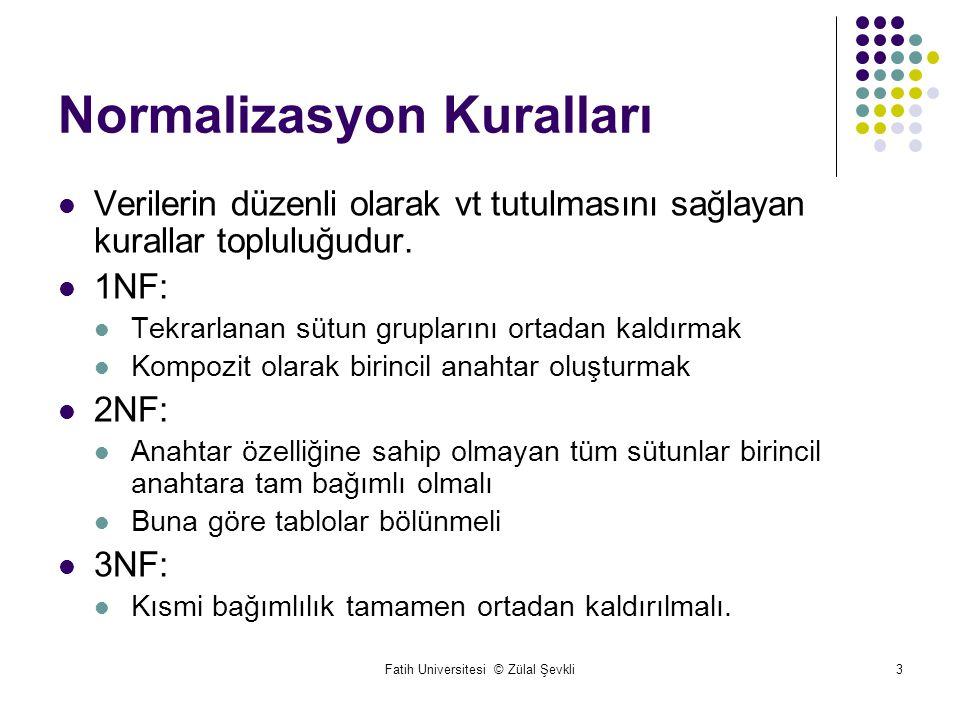 Fatih Universitesi © Zülal Şevkli3 Normalizasyon Kuralları Verilerin düzenli olarak vt tutulmasını sağlayan kurallar topluluğudur.