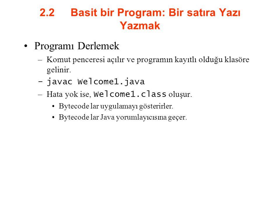 2.2 Basit bir Program: Bir satıra Yazı Yazmak Programı Derlemek –Komut penceresi açılır ve programın kayıtlı olduğu klasöre gelinir. –javac Welcome1.j