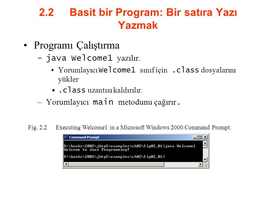 2.2 Basit bir Program: Bir satıra Yazı Yazmak Programı Çalıştırma –java Welcome1 yazılır. Yorumlayıcı Welcome1 sınıf için.class dosyalarını yükler.cla