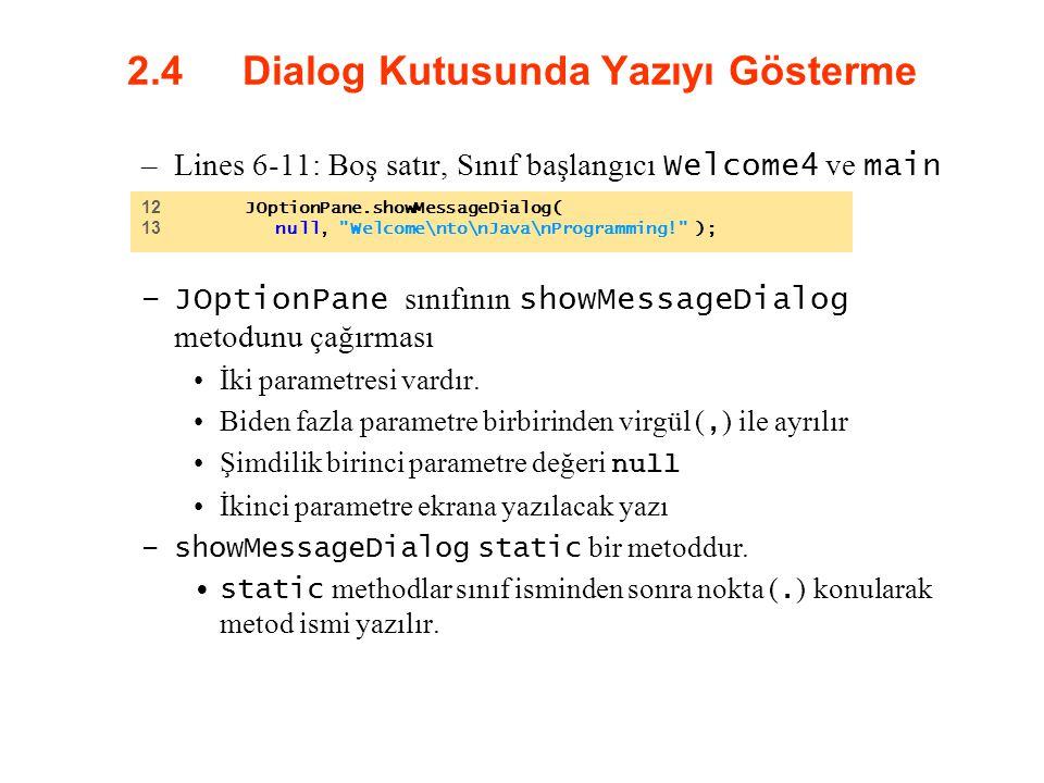 2.4 Dialog Kutusunda Yazıyı Gösterme –Lines 6-11: Boş satır, Sınıf başlangıcı Welcome4 ve main –JOptionPane sınıfının showMessageDialog metodunu çağır