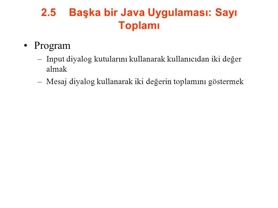 2.5Başka bir Java Uygulaması: Sayı Toplamı Program –Input diyalog kutularını kullanarak kullanıcıdan iki değer almak –Mesaj diyalog kullanarak iki değ