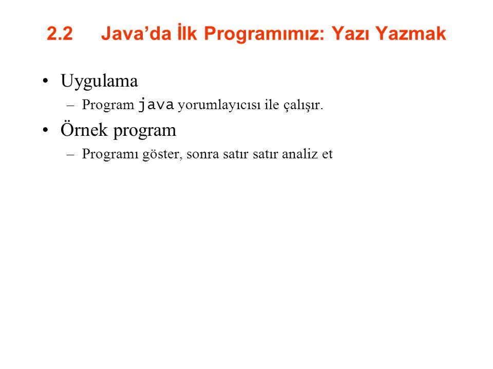 2.2 Java'da İlk Programımız: Yazı Yazmak Uygulama –Program java yorumlayıcısı ile çalışır. Örnek program –Programı göster, sonra satır satır analiz et
