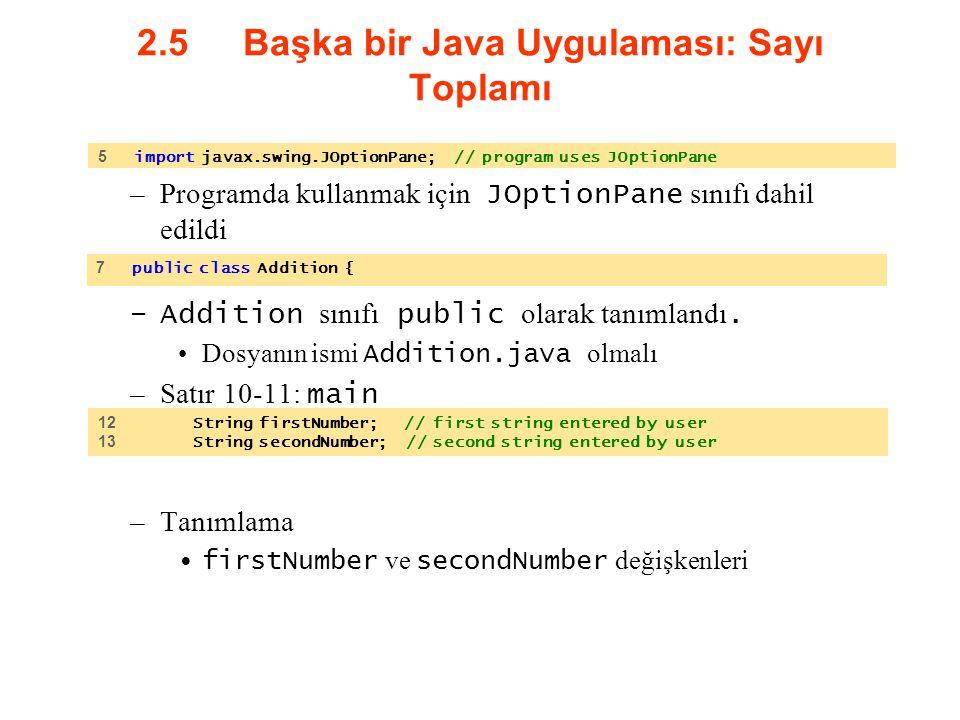 2.5 Başka bir Java Uygulaması: Sayı Toplamı –Programda kullanmak için JOptionPane sınıfı dahil edildi –Addition sınıfı public olarak tanımlandı. Dosya