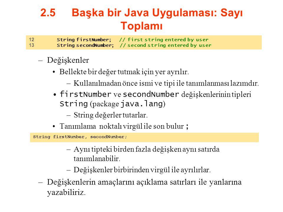 2.5 Başka bir Java Uygulaması: Sayı Toplamı –Değişkenler Bellekte bir değer tutmak için yer ayrılır. –Kullanılmadan önce ismi ve tipi ile tanımlanması