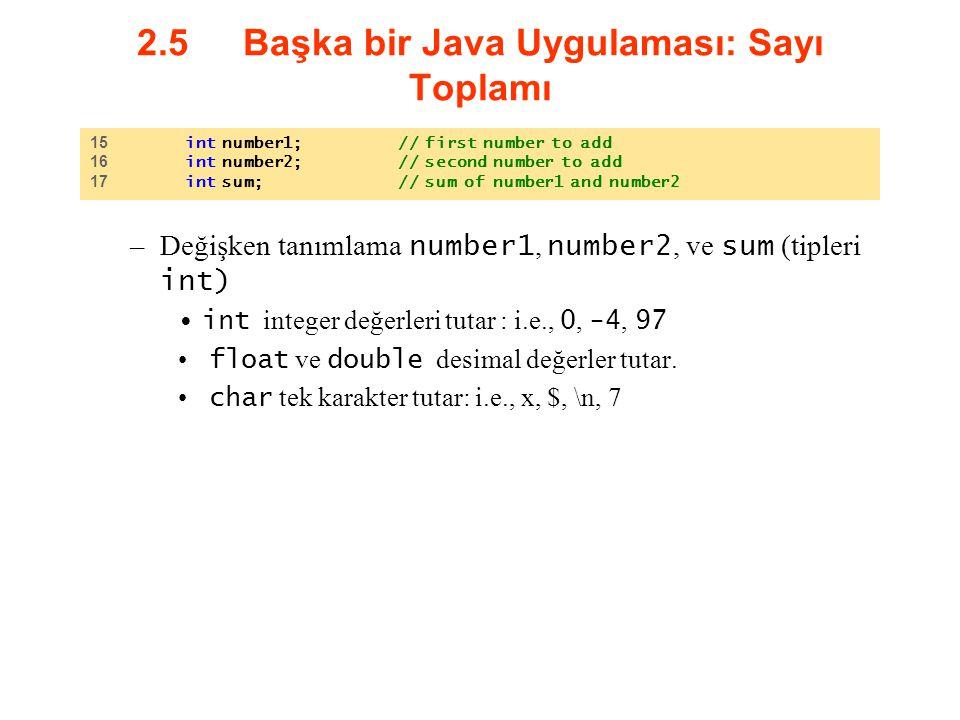 2.5 Başka bir Java Uygulaması: Sayı Toplamı –Değişken tanımlama number1, number2, ve sum (tipleri int) int integer değerleri tutar : i.e., 0, -4, 97 f