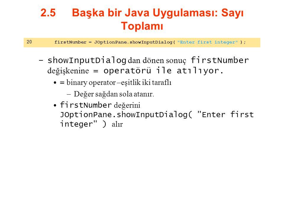 2.5 Başka bir Java Uygulaması: Sayı Toplamı –showInputDialog dan dönen sonuç firstNumber değişkenine = operatörü ile atılıyor. = binary operator –eşit