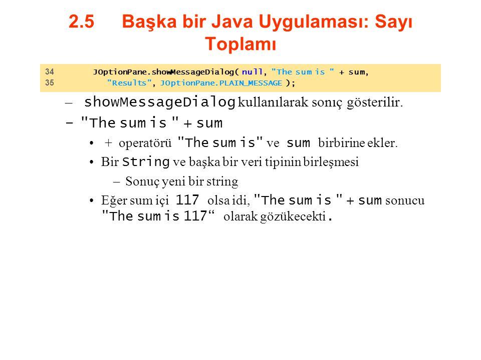 2.5 Başka bir Java Uygulaması: Sayı Toplamı – showMessageDialog kullanılarak sonıç gösterilir. –