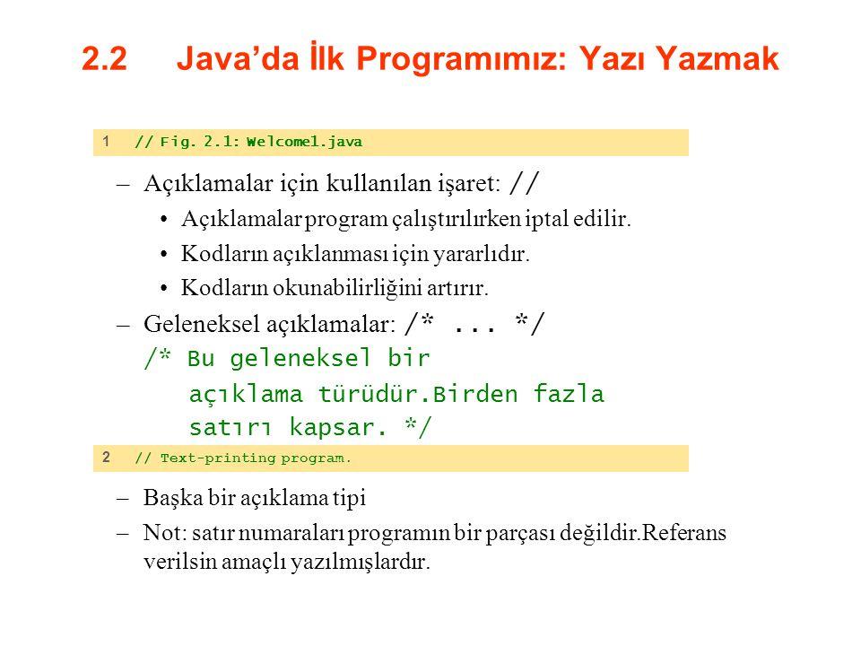 2.2 Java'da İlk Programımız: Yazı Yazmak –Açıklamalar için kullanılan işaret: // Açıklamalar program çalıştırılırken iptal edilir. Kodların açıklanmas