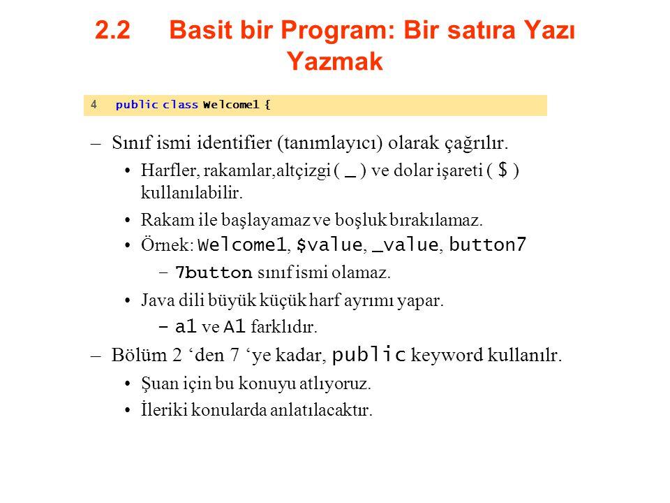 2.2 Basit bir Program: Bir satıra Yazı Yazmak –Sınıf ismi identifier (tanımlayıcı) olarak çağrılır. Harfler, rakamlar,altçizgi ( _ ) ve dolar işareti