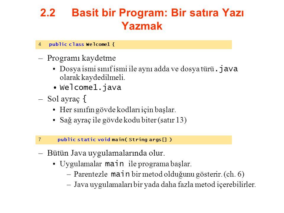 2.2 Basit bir Program: Bir satıra Yazı Yazmak –Programı kaydetme Dosya ismi sınıf ismi ile aynı adda ve dosya türü.java olarak kaydedilmeli. Welcome1.