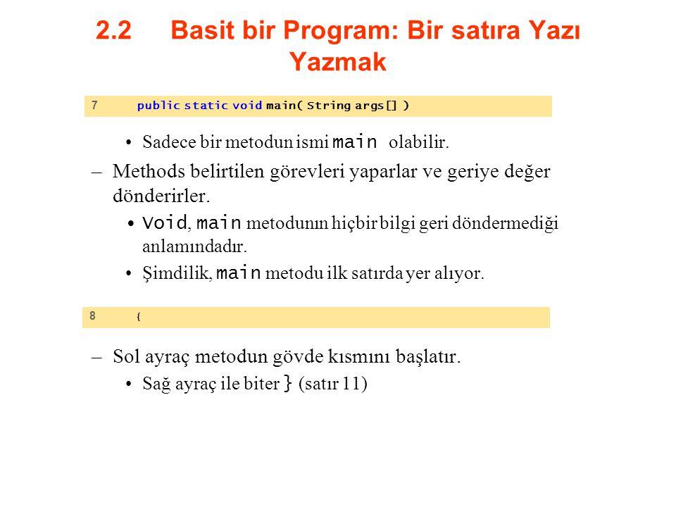 2.2 Basit bir Program: Bir satıra Yazı Yazmak Sadece bir metodun ismi main olabilir. –Methods belirtilen görevleri yaparlar ve geriye değer dönderirle