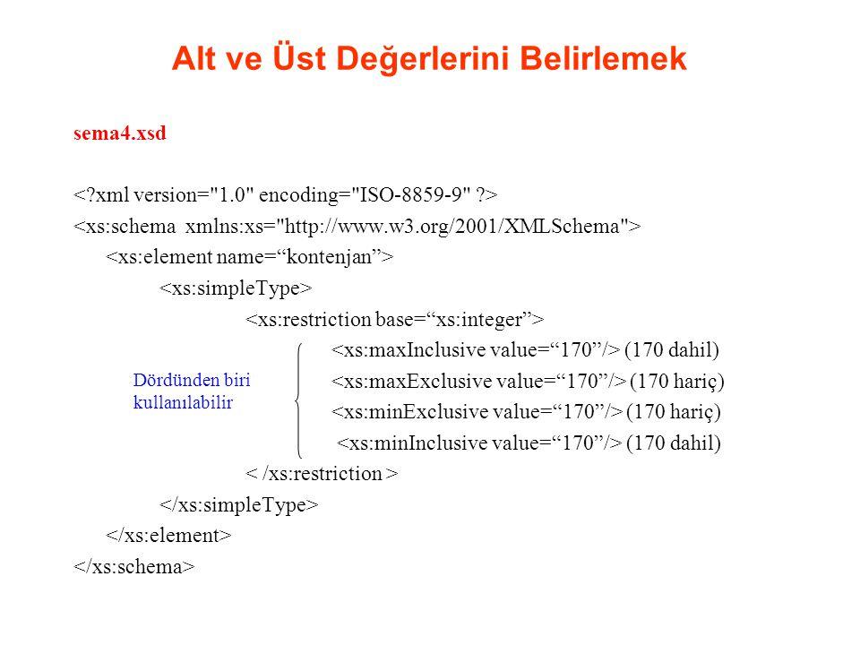 Alt ve Üst Değerlerini Belirlemek sema4.xsd (170 dahil) (170 hariç) (170 dahil) Dördünden biri kullanılabilir