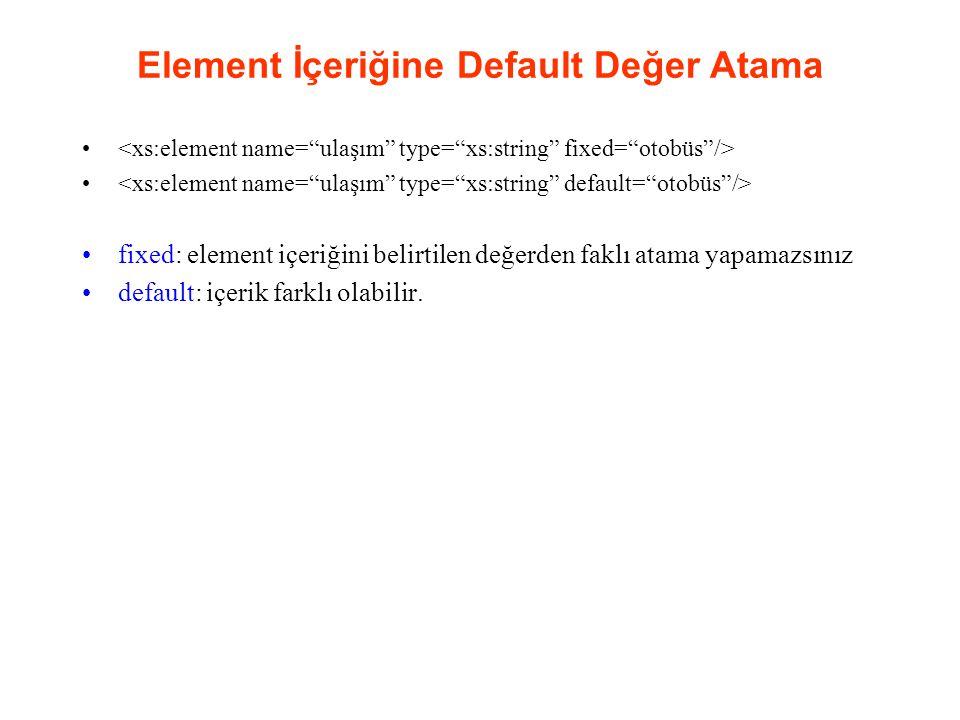 Element İçeriğine Default Değer Atama fixed: element içeriğini belirtilen değerden faklı atama yapamazsınız default: içerik farklı olabilir.
