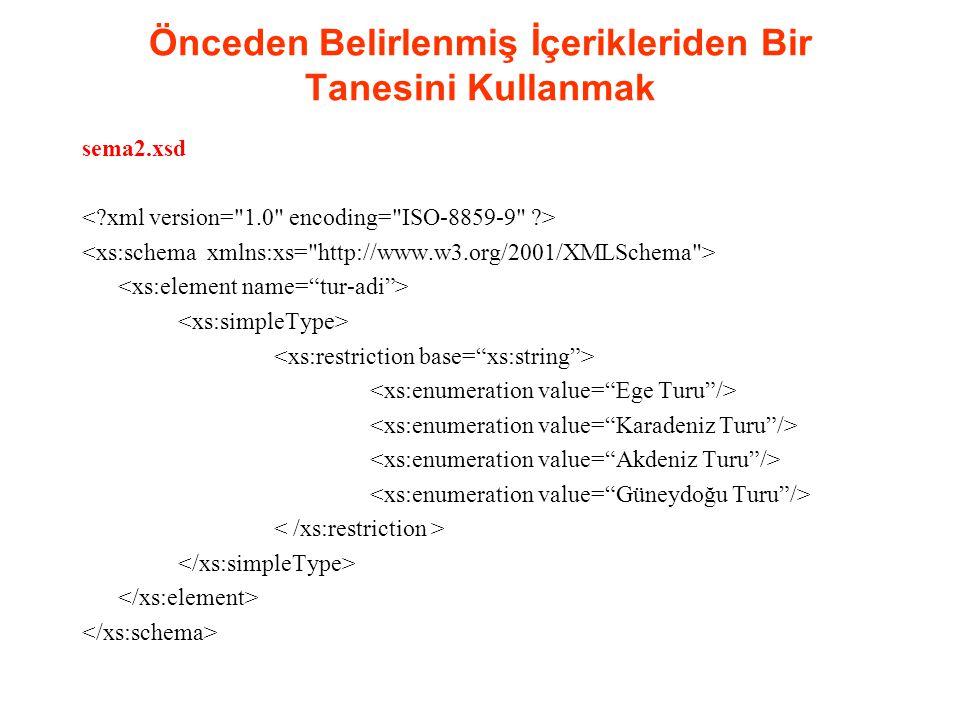 Önceden Belirlenmiş İçerikleriden Bir Tanesini Kullanmak sema3.xsd <xs:pattern value= Ege Turu | Karadeniz Turu | Akdeniz Turu | Güneydoğu Turu />