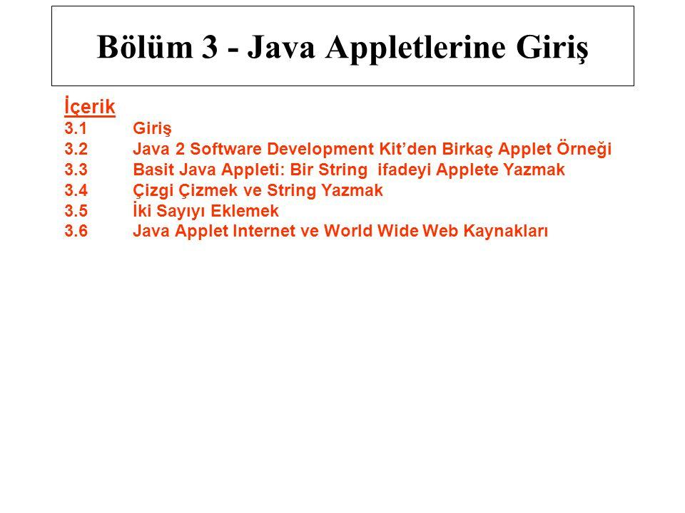 Bölüm 3 - Java Appletlerine Giriş İçerik 3.1 Giriş 3.2 Java 2 Software Development Kit'den Birkaç Applet Örneği 3.3 Basit Java Appleti: Bir String ifa