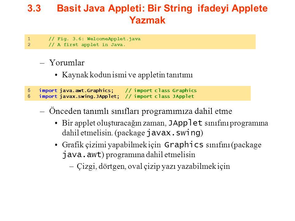 3.3Basit Java Appleti: Bir String ifadeyi Applete Yazmak –Yorumlar Kaynak kodun ismi ve appletin tanıtımı –Önceden tanımlı sınıfları programımıza dahi